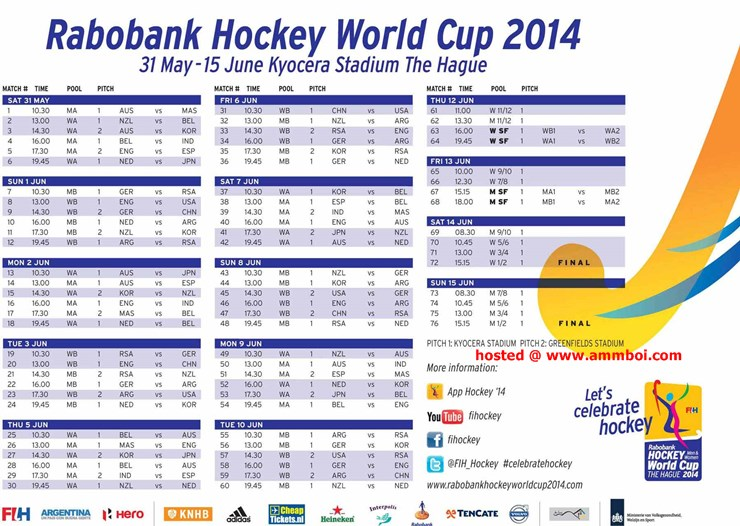 Hockey World Cup 2014 Schedule and Fixture